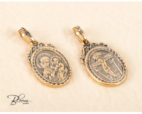Virgin Mary Two Side Pendant Russian Orthodox Jesus Oval Necklace 14K Solid Gold Bloom Jewellery