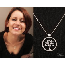 Tree of Life Necklace 14K Solid White Gold Pendant with Chain Woman Gift Delicate Crystal Charm Bloom Jewellery