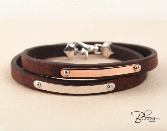 Personalized Double Wrap Leather Bracelet for Men Custom Solid Gold 14K Anniversary Gift Bloom Jewelley