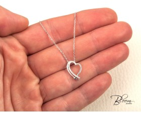 Small Diamond Heart Necklace 18K Solid White Gold and Natural Diamonds adjustable chain length Bloom Jewellery