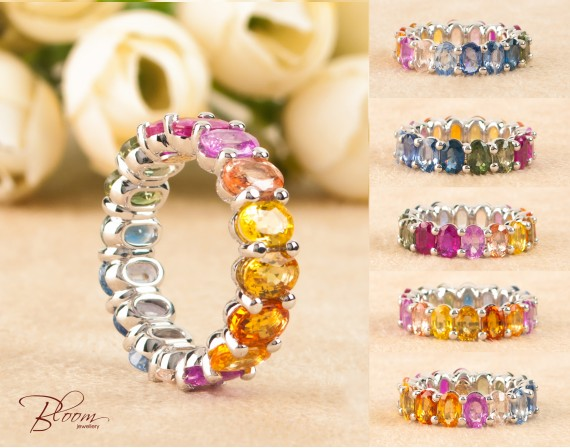 Rainbow Sapphire Eternity Ring made of 18K White Gold Bloom Jewellery