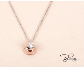 Solitaire Diamond Necklace made of 18K White and Rose Gold adjustable chain length Bloom Jewellery