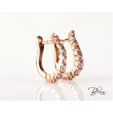 Latch Back Earrings 14K Solid Rose Gold Cubic Zirconia Crystal Hoops Bloom Jewellery