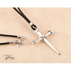 Jesus Nails Cross 14K White Gold Necklace for Men Genuine Black Leather Cord Bloom Jewellery