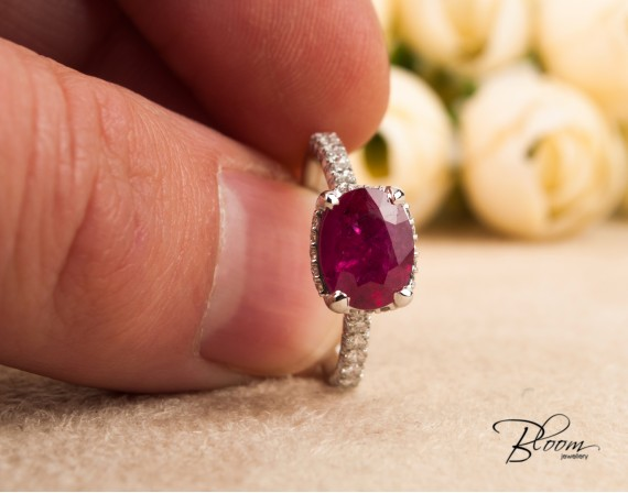 Unique Ruby Diamond Ring made of 18K Solid White Gold Bloom Jewellery
