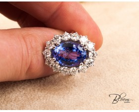 7ct. Tanzanite and Diamonds Cocktail Ring Halo Engagement Bloom Jewellery