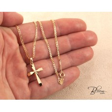 Gold Cross Necklace for Men 14K Solid Yellow Curb Chain with Pendant Bloom Jewellery