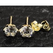 Single Stone Stud Earrings in 14K Yellow Gold Bloom Jewellery