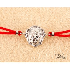 Lion Red String Bracelet 14K White Gold and Real Diamond Eyes Bloom Jewellery