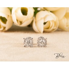 Natural Diamond Stud Earrings 18K White Gold Flat Setting Bloom Jewellery