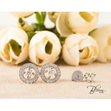 White Gold Stud Earrings Halo Diamond 18K White Gold Bloom Jewellery