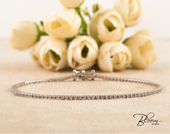 Thin Tennis Bracelet Real Diamonds 18K White Gold Bloom Jewellery