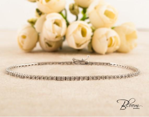 Diamond Tennis Bracelet 18K White Gold Bloom Jewellery