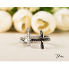 Stackable Cross Ring 18K White Gold Natural Black and White Diamonds Eternity Band Bloom Jewellery