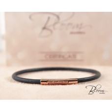 Leather Cord and Gold Bracelet 14K Unisex Bloom Jewelley