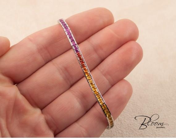 Multicolor Sapphire Rainbow Bracelet 18K White Gold Tennis Bloom Jewellery