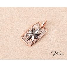 Rose Gold and Cubic Zirconia 14K Tag Pendant Bloom Jewelley