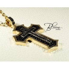 Big Gold Cross for Men 14K Black Stingray Leather Inside Bloom Jewelley