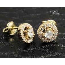 Stud Earrings in Yellow Gold with Cubic Zirconia Stones 14K Bloom Jewellery