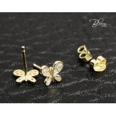Butterfly Stud Earrings in 14K Gold Bloom Jewellery