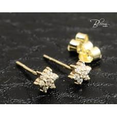 Gold Stud Earrings 14K with Cubic Zirconia Bloom Jewellery